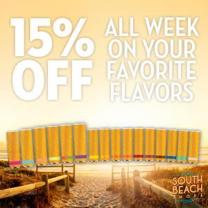 15% All Cartridges on South Beach Smoke, This Week Only!